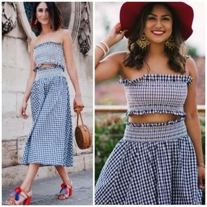 Zara Gingham A-Line Midi Skirt Bandeau Top Set